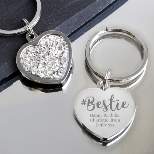 Personalised #Bestie Diamante Heart Keyring Gift For a Best Friend
